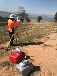 Drone and total station